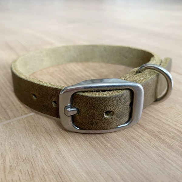 Halsband Fettleder verstellbar